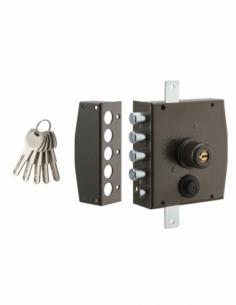 Serrure en applique à double entrée pour porte d'entrée, 154x140mm, 3 pts, gauche, 5 clés - THIRARD Serrure en applique