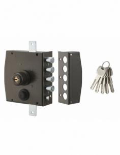 Serrure en applique à double entrée pour porte d'entrée, 154x140mm, 3 pts, droite, 5 clés - THIRARD Serrure en applique