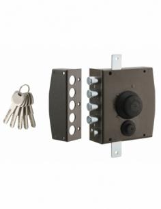Serrure en applique à bouton pour porte d'entrée, 154x140mm, 3 pts, gauche, 5 clés - THIRARD Serrure en applique
