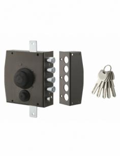 Serrure en applique à bouton pour porte d'entrée, 154x140mm, 3 pts, droite, 5 clés - THIRARD Serrure en applique