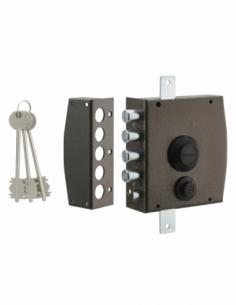 Serrure en applique à clé pour porte d'entrée, 154x140mm, 3 pts, gauche, 3 clés - THIRARD Serrure en applique