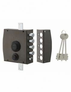 Serrure en applique à clé pour porte d'entrée, 154x140mm, 3 pts, droite, 3 clés - THIRARD Serrure en applique