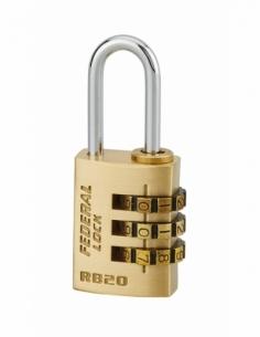 Cadenas à combinaison RB, laiton, 3 chiffres, intérieur, anse acier, 20mm - THIRARD Cadenas à code