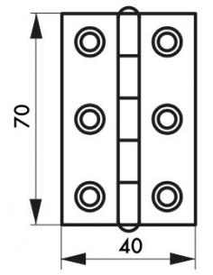 Charnière de porte, 70x40mm, inox 309 - THIRARD Paumelle