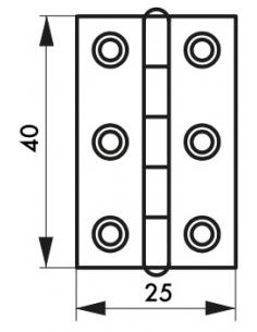 Charnière de porte, 40x25mm, inox 309 - THIRARD Paumelle