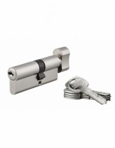 Cylindre de serrure à bouton débrayable Trafic 6, 30x40mm, anti-arrachement, anti-perçage, nickel, 5 clés longues - THIRARD C...