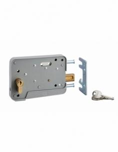 Serrure en applique à double entrée pour portillon, réversible, 150x108mm, axe 130mm, cylindre 30x10mm, gris, 3 clés - THIRAR...