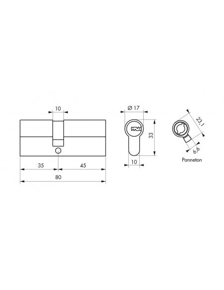 Cylindre de serrure à double entrée, 35x45mm, 5 clés réversibles, nickel - Serrurerie de Picardie Cylindre de serrure