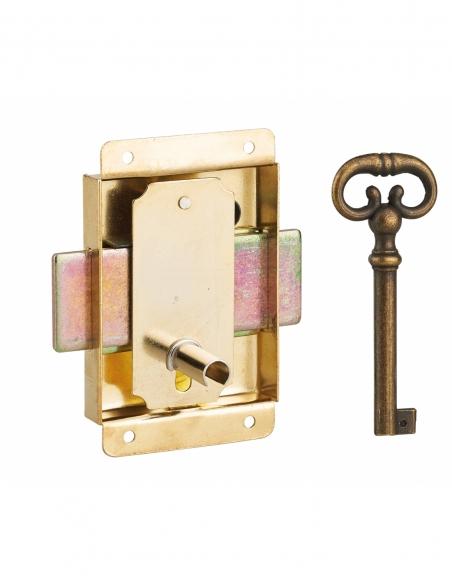 Serrure de meuble à pattes pour porte d'ameublement, 50mm, acier laitonné, 1 clé - Serrurerie de Picardie Serrure de meuble