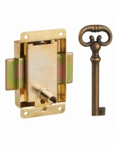 Serrure de meuble à pattes pour porte d'ameublement, 40mm, acier laitonné, 1 clé - Serrurerie de Picardie Serrure de meuble