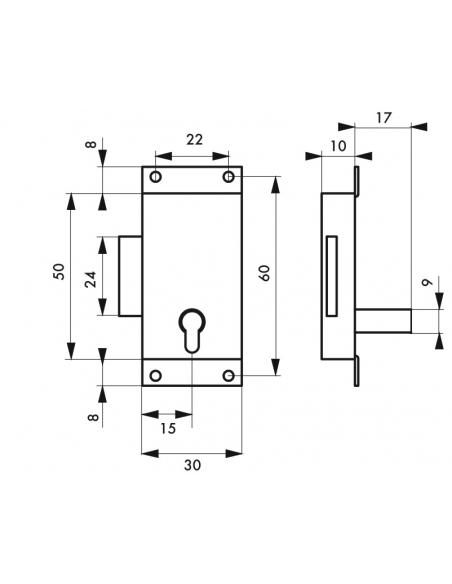 Serrure de meuble à pattes pour porte d'ameublement, 30mm, acier poli, 1 clé - Serrurerie de Picardie Serrure de meuble