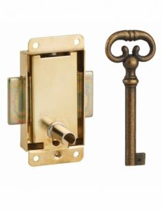 Serrure de meuble à pattes pour porte d'ameublement, 30mm, acier laitonné, 1 clé - Serrurerie de Picardie Serrure de meuble