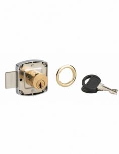 Serrure de meuble en applique pour porte d'ameublement, cylindre 20mm, nickelé, 2 clés - Serrurerie de Picardie Serrure en ap...