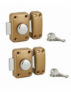 Lot de verrous à bouton 3010 pour porte d'entrée + cylindre Ø21x35mm, bronze, 3 clés/verrous - Serrurerie de Picardie Verrous