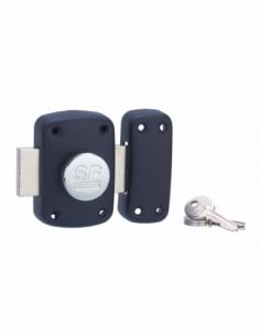 Verrou à bouton 2012 pour porte d'entrée, cylindre Ø23x45mm, noir, 3 clés - Serrurerie de Picardie Verrous