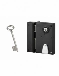 Serrure verticale en applique à clé pour porte intérieure, gauche, 70x110mm, noir, 1 clé - Serrurerie de Picardie Serrure en ...