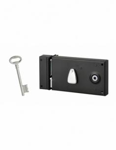 Serrure horizontale en applique à clé pour porte intérieure, gauche, 140x80mm, noir, 1 clé - Serrurerie de Picardie Serrure e...