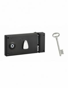 Serrure horizontale en applique à clé pour porte intérieure, droite, 140x80mm, noir, 1 clé - Serrurerie de Picardie Serrure e...