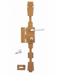 Serrure en applique à cylindre à fouillot pour porte d'entrée, 3 pts, gauche, bronze, 4 clés - Serrurerie de Picardie Serrure...