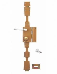 Serrure en applique à cylindre à fouillot pour porte d'entrée, 3 pts, droite, bronze, 4 clés - Serrurerie de Picardie Serrure...