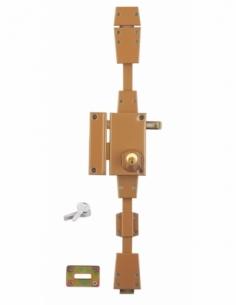 Serrure en applique à cylindre à tirage pour porte d'entrée, 3 pts, gauche, bronze, 4 clés - Serrurerie de Picardie Serrure e...