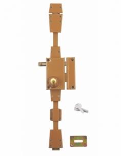 Serrure en applique horizontale, à tirage, 3 pts, bronze, droite - Serrurerie de Picardie Serrure en applique