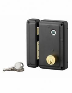 Serrure verticale en applique double entrée à fouillot pour entrée, gauche, 70x110mm, noir, 3 clés - Serrurerie de Picardie S...
