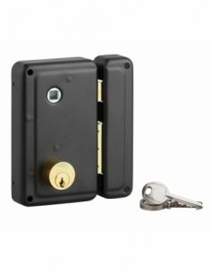 Serrure verticale en applique double entrée à fouillot pour entrée, droite, 70x110mm, noir, 3 clés - Serrurerie de Picardie S...