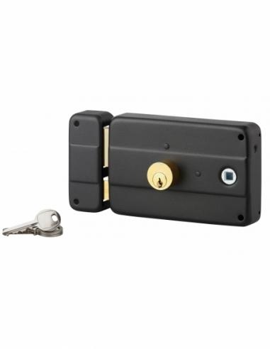 Serrure horizontale en applique double entrée à fouillot pour entrée, gauche, 140x90mm, noir, 3 clés - Serrurerie de Picardie...