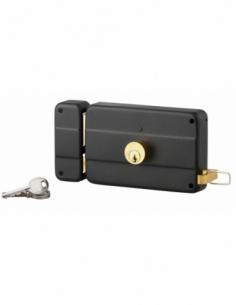 Serrure horizontale en applique double entrée à tirage pour entrée, gauche, 140x90mm, noir, 3 clés - Serrurerie de Picardie S...