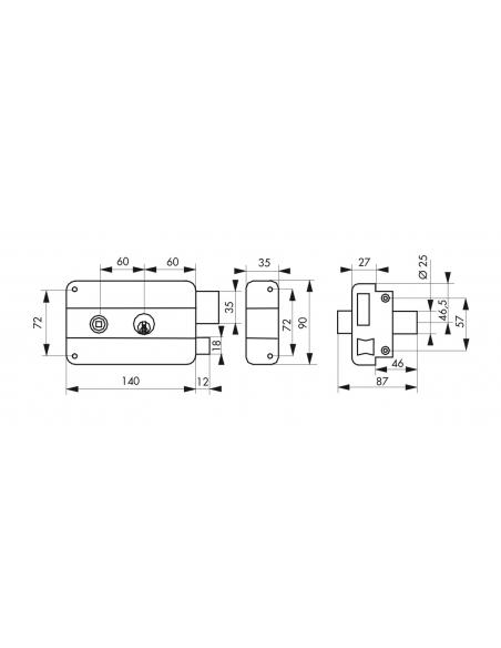 Serrure horizontale en applique double entrée à fouillot pour entrée, droite, 140x90mm, noir, 3 clés - Serrurerie de Picardie...