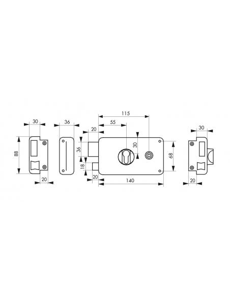 Boitier de serrure horizontale en applique double entrée à fouillot pour entrée, gauche, 140x88mm, noir - Serrurerie de Picar...