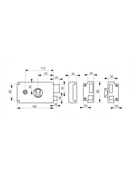 Boitier de serrure horizontale en applique double entrée à fouillot pour entrée, droite, 140x88mm, noir - Serrurerie de Picar...
