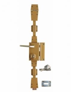 Serrure en applique à cylindre à fouillot pour entrée, 3 pts, droite, bronze, 4 clés réversibles - Serrurerie de Picardie Ser...