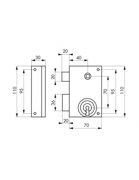 Serrure verticale en applique à clé pour portail, gauche, 70x110mm, zingué, 2 clés - Serrurerie de Picardie Serrure en applique