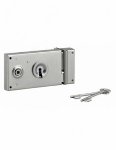 Serrure horizontale en applique à clé pour portail, droite, 140x80mm, zingué, 2 clés - Serrurerie de Picardie Serrure en appl...
