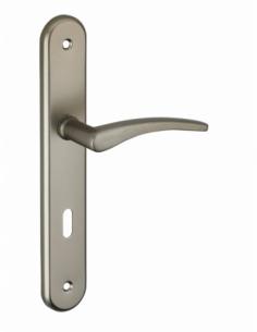 Ensemble de poignées pour porte intérieure Vesta trou de clé, entr'axes 195mm, nickelé satiné - Serrurerie de Picardie Poignée