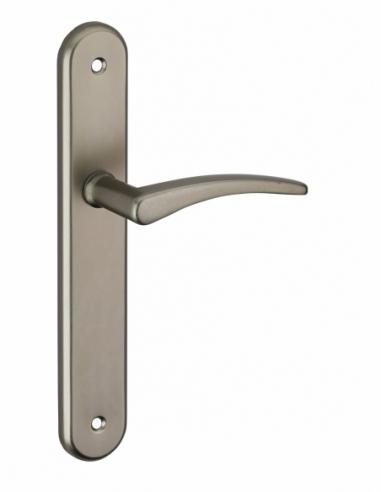 Ensemble de poignées pour porte intérieure Vesta sans trou, entr'axes 195mm, nickelé satiné - Serrurerie de Picardie Poignée