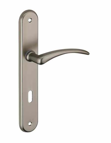 Ensemble de poignées pour porte intérieure Pelope trou de clé, entr'axes 195mm, nickelé satiné - Serrurerie de Picardie Poignée