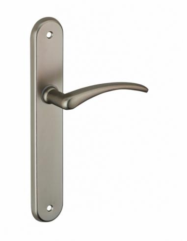 Ensemble de poignées pour porte intérieure Pelope sans trou, entr'axes 195mm, nickelé satiné - Serrurerie de Picardie Poignée