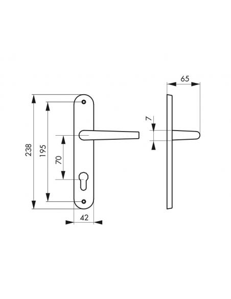 Ensemble de poignées pour porte d'entrée Charon trou de cylindre, entr'axes 195mm, acier patiné - Serrurerie de Picardie Poignée