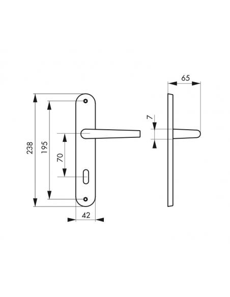 Ensemble de poignées pour porte intérieure Charon trou de clé, entr'axes 195mm, acier patiné - Serrurerie de Picardie Poignée