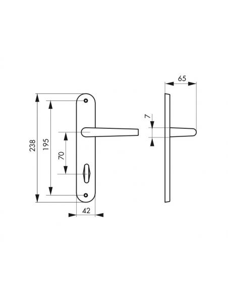 Ensemble de poignées Charon à condamnation pour salle de bain, entr'axes 195mm, acier rouillé - Serrurerie de Picardie Poignée