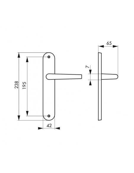 Ensemble de poignées Charon sans trou pour porte intérieure, entr'axes 195mm, acier rouillé - Serrurerie de Picardie Poignée