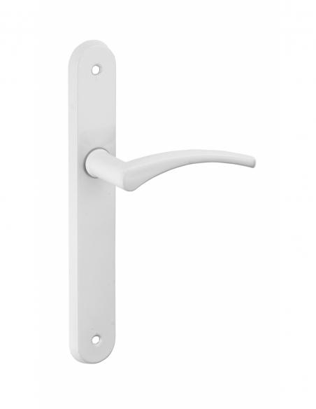Ensemble de poignées pour porte intérieure Hebe sans trou, entr'axes 195mm, laqué blanc - Serrurerie de Picardie Poignée