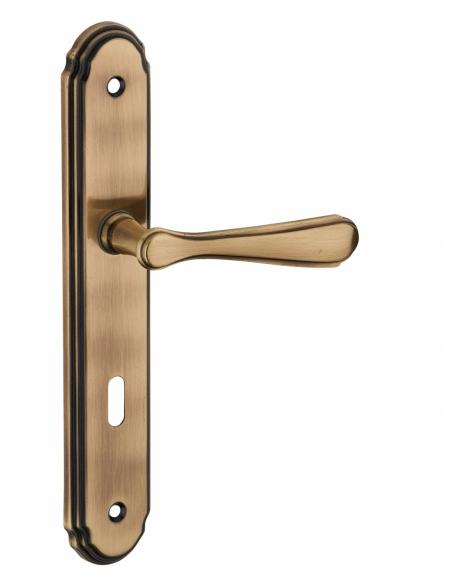 Ensemble de poignées pour porte intérieure Arthemis trou de clé, entr'axes 195mm, laiton platiné - Serrurerie de Picardie Poi...