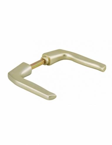 Paire de béquilles pour porte, carré 7mm, 1 portée, champagne - Serrurerie de Picardie Poignée