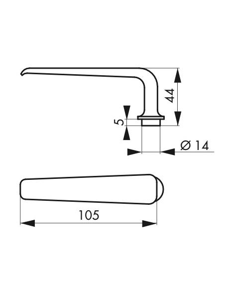 Paire de béquille pour porte d'entrée, carré 7mm, acier - Serrurerie de Picardie Poignée