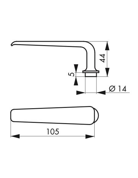 Paire de béquille pour porte d'entrée, carré 6mm, acier - Serrurerie de Picardie Poignée
