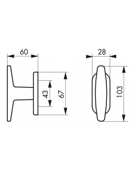 Bouton pour fenêtre Leto/Maia, carré 7mm, champagne - Serrurerie de Picardie Poignée